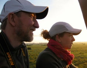 Kristen and Chris are mesmerized by the sights form our balloon vantage point.