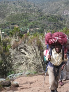 one of forty porters hauling our stuff.